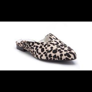 Lana Black and White Leopard Print Mule
